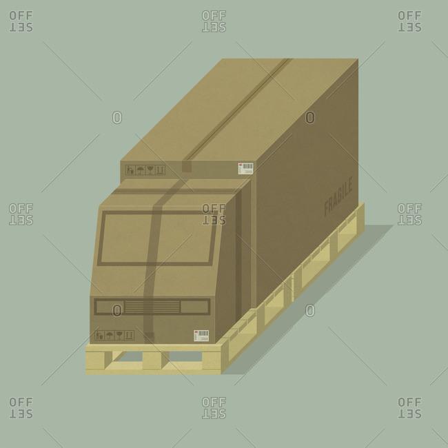 Truck in a custom cardboard box