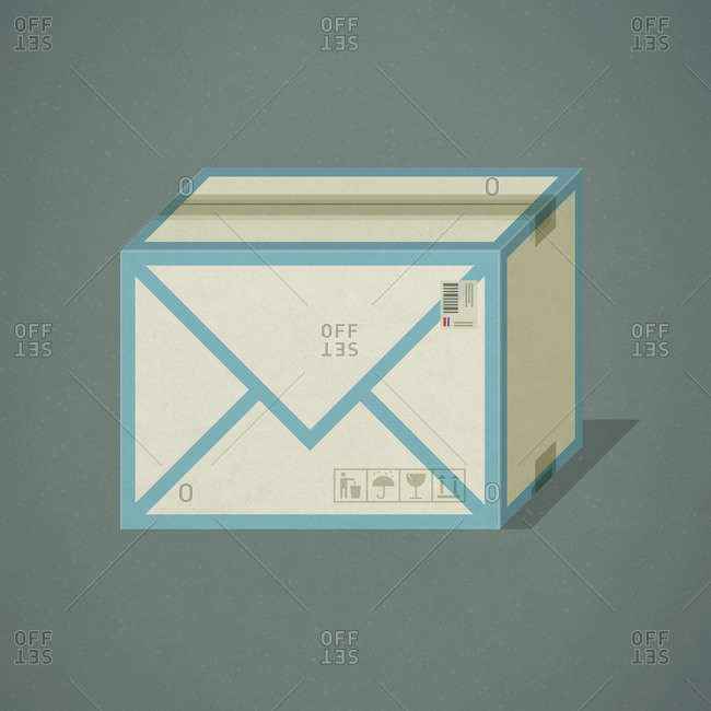 Cardboard shipping box with an e-mail envelope icon