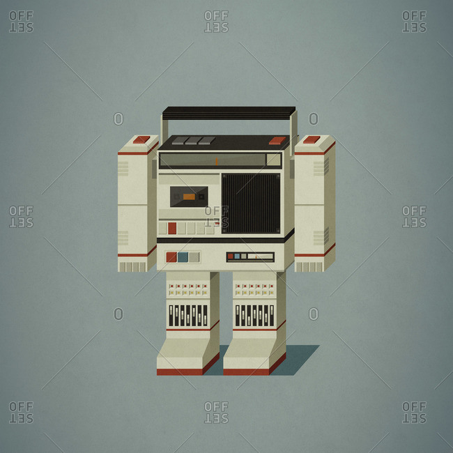 Robot shaped like a cassette tape player