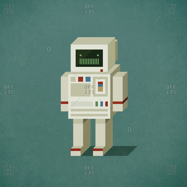 Robot shaped like a vintage pc computer
