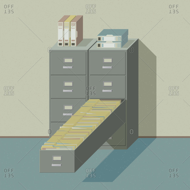 Isometric illustration of a vintage filing cabinet with a very long drawer filled with file folders
