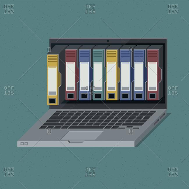 Folders on a laptop screen