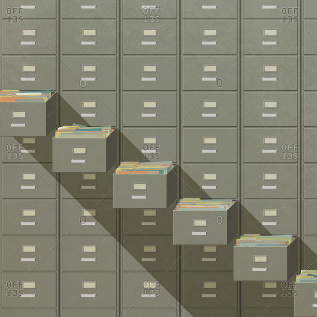 Bank of filing cabinets with open drawers in stair step sequence