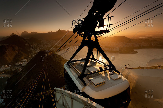 Aerial tramway at sunset in Rio de Janeiro, Brazil
