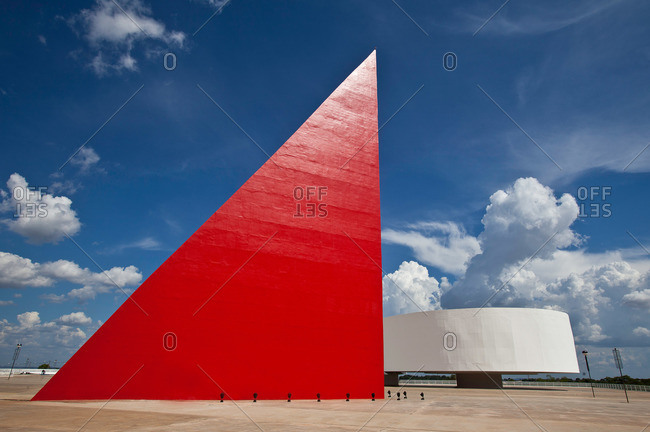 Goiania, Brazil - October 23, 2013: The Monument to Human Rights at the Oscar Niemeyer cultural center