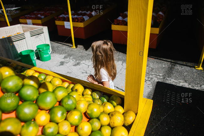Little girl walking through a farmer's market