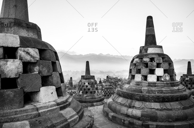 Stupas at a Buddhist temple in Java, Indonesia