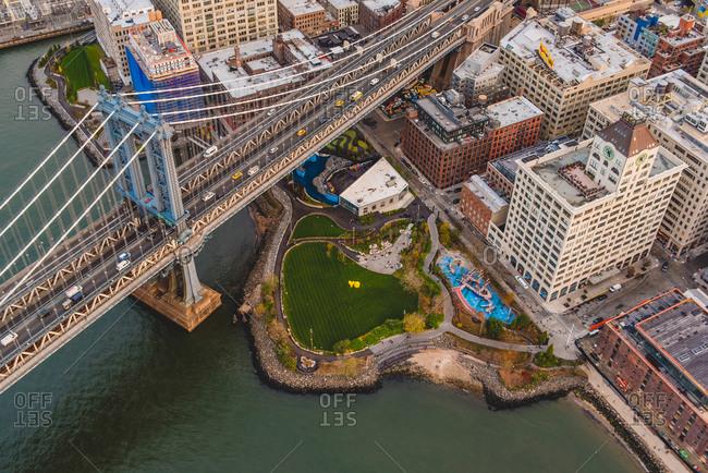 New York City, NY - November 11, 2015: Aerial view of Brooklyn Bridge Park, Brooklyn, NY