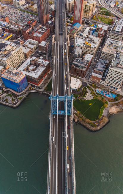 Aerial view of Brooklyn Bridge Park and the Manhattan Bridge, Brooklyn, NY