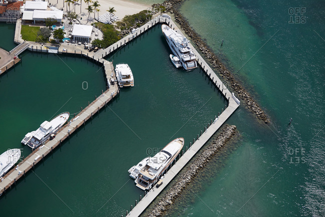 Aerial view of yachts in a harbor in Miami, FL