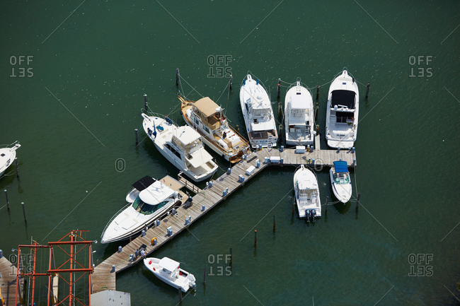 Aerial view of boats moored at a dock in Miami, FL