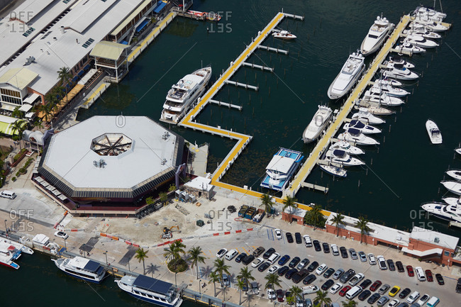 Aerial view of boats in a marina in Miami, FL