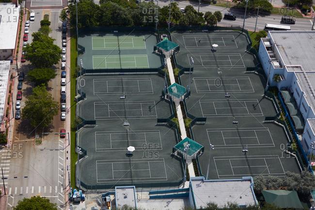 Aerial view of a tennis complex in Miami, FL