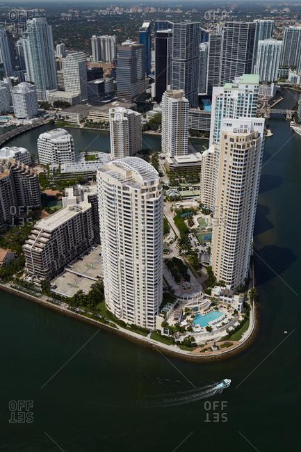 High rise buildings along the coast of Miami, FL
