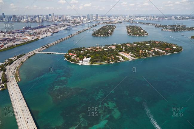 Star, Palm and Hibiscus Islands near Miami, FL