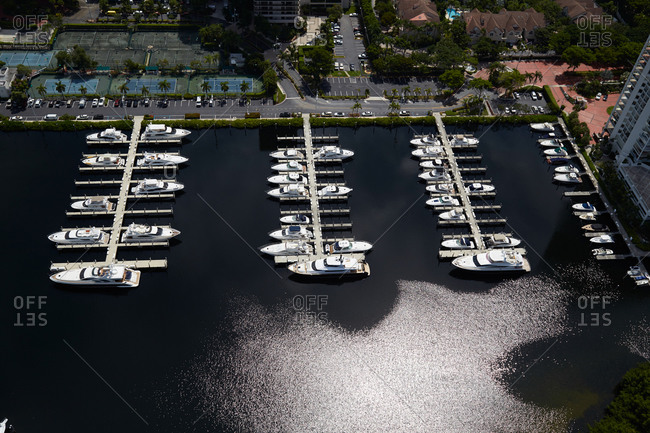 Boats parked in a marina in Miami, FL