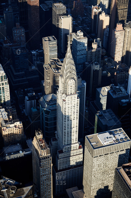 New York City, NY - October 20, 2015: New York buildings and The Chrysler Building aerial view