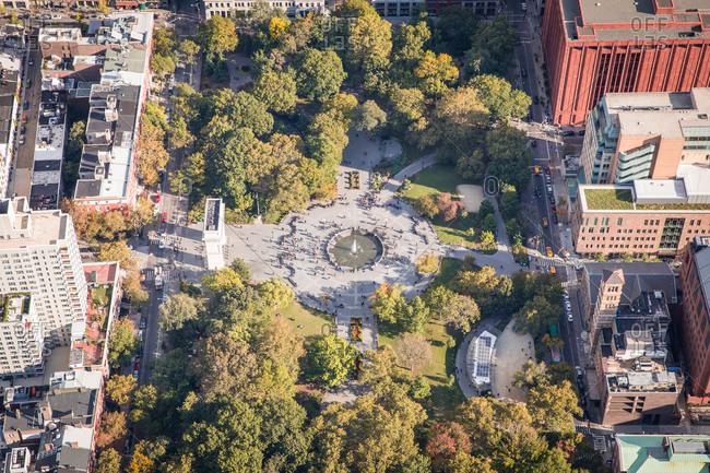 Aerial view of Washington Square Park, New York City, NY