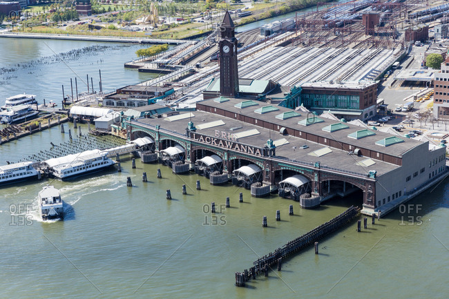 Aerial view of a transportation terminal in Hoboken, NJ