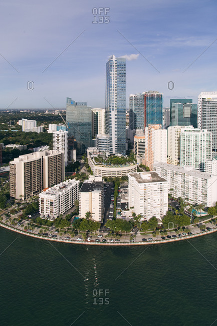 High angle view of high-rise buildings on the coast of Miami, FL