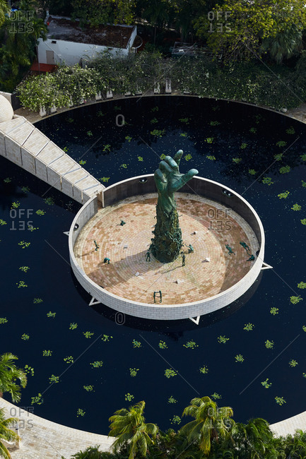 Miami Beach, FL - December 2, 2015: High angle view of the Holocaust Memorial Miami Beach