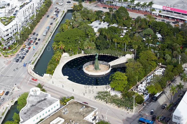 Miami Beach, FL - December 2, 2015: Aerial view of the Holocaust Memorial Miami Beach and surrounding area