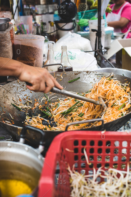 Bangkok street food being prepared during Chinese New Years