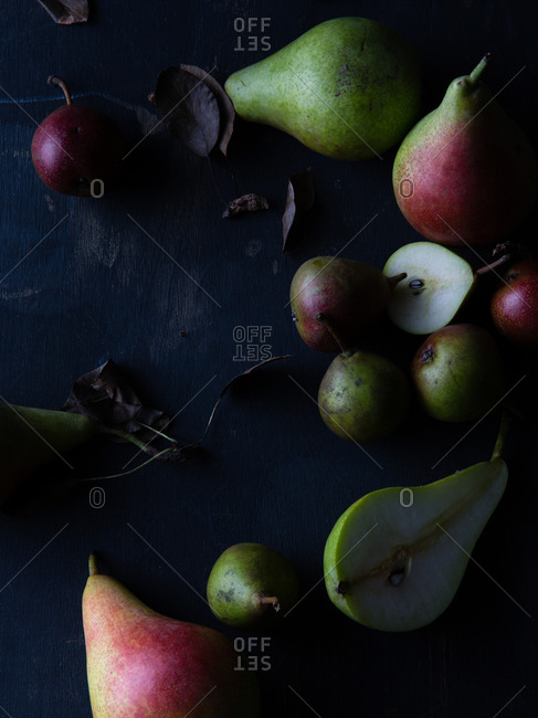 Overhead view of fruit still life