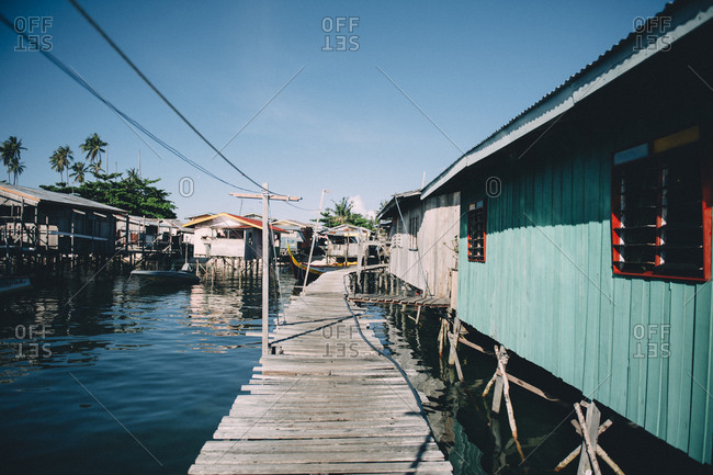 Docks and homes on coastal Malaysia