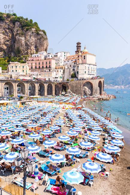 Salerno Italy August 13 2015 Beach On The Amalfi Coast
