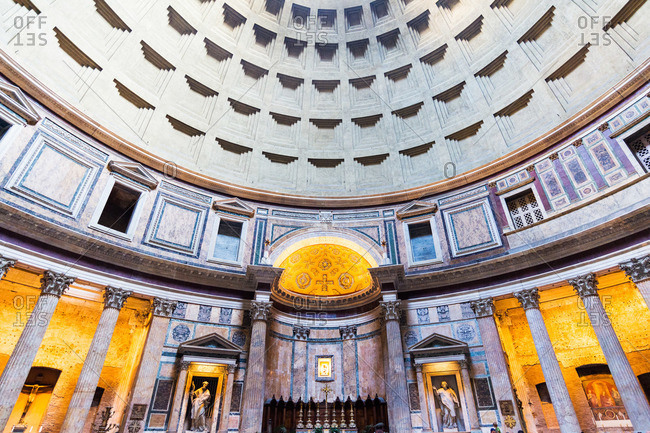 Rome, Italy - August 10, 2015: The interior of the Pantheon, Rome