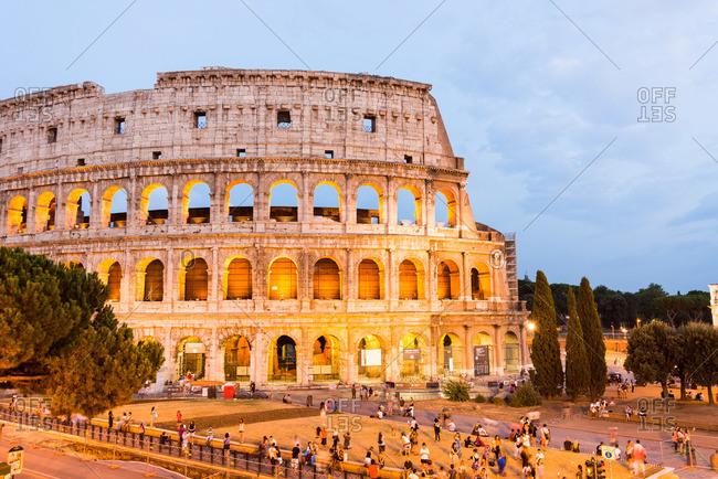 The Roman Colosseum illuminated at night