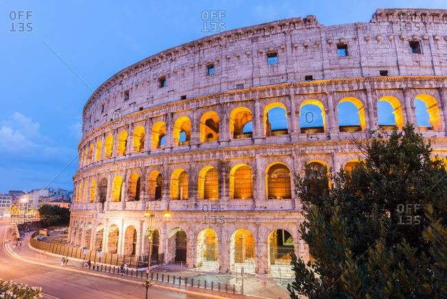 Roman Colosseum illuminated at night