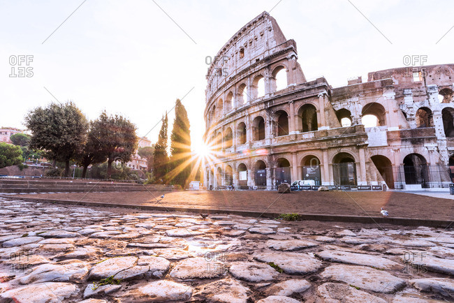 Sunlight through the Colosseum, Rome, Italy