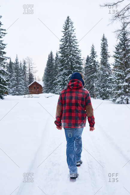 Man walking toward a cabin in a snowy forest