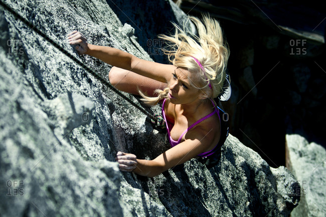 Female rock climber in Phantom Spires, Tahoe, CA