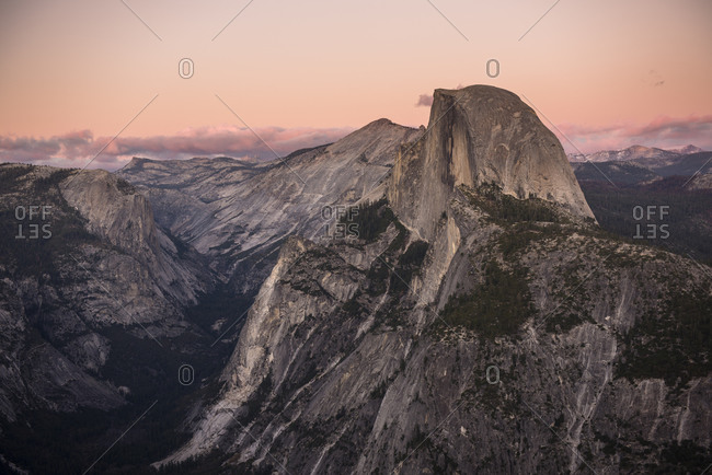 View of Half Dome from Glacier Point as seen at sunset Yosemite, CA, USA
