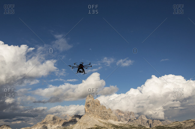 Drone in front of the Tre Cime in the dolomites