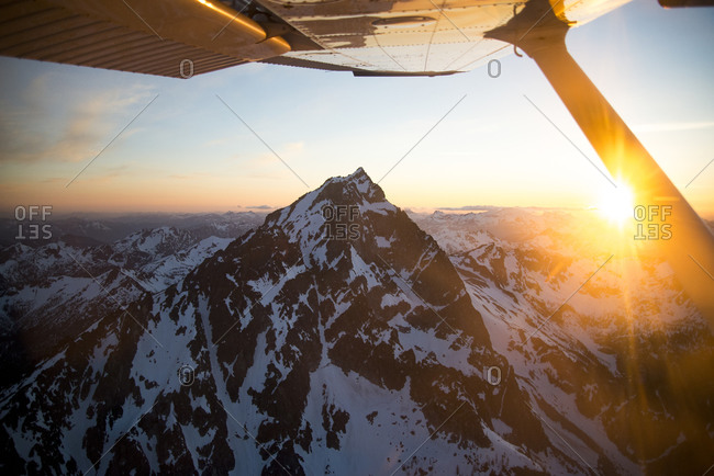 Aerial image of Mt Stuart in the Cascade Range in Washington State at Sunset