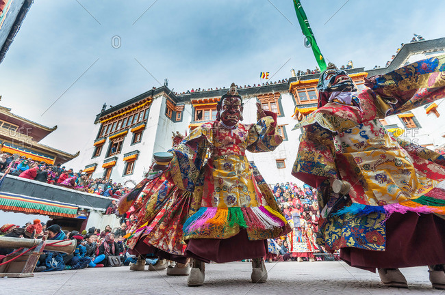 Leh, India - January 7, 2016: Dancers in costume during cham dance