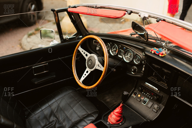 Black and red interior of a convertible car