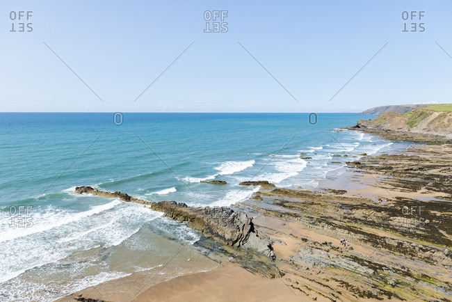 Land formations on the shore of Cornwall, United Kingdom