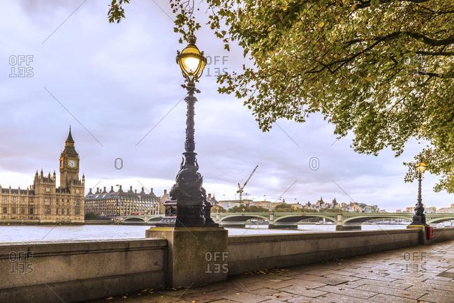Lamp post beside the River Thames, London, United Kingdom