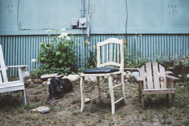 Wooden chairs out in a yard