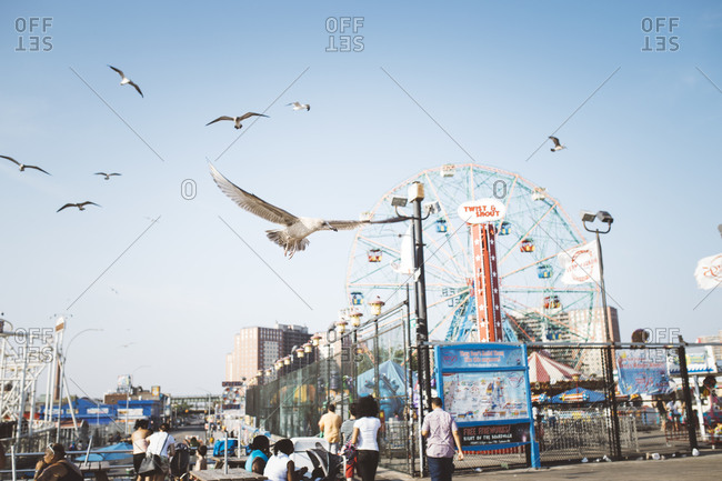 Coney Island, Brooklyn, NY - September 7, 2015: Seagulls over crowds at Coney Island