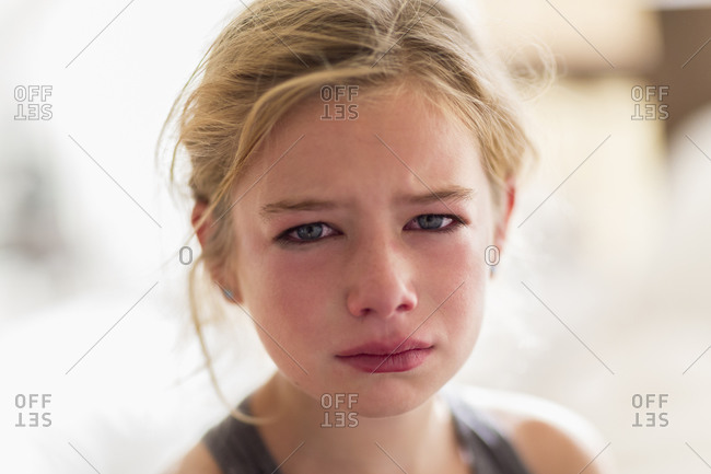 Close up of red face of crying Girl