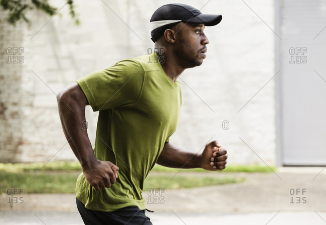 Man running on city street