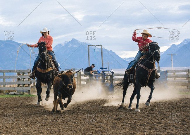 Mother and son chasing cattle at rodeo