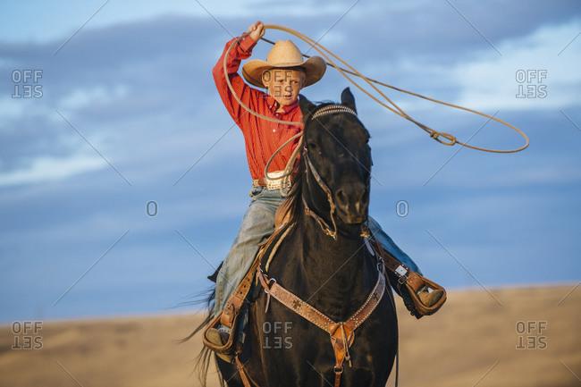 Boy on horse throwing lasso