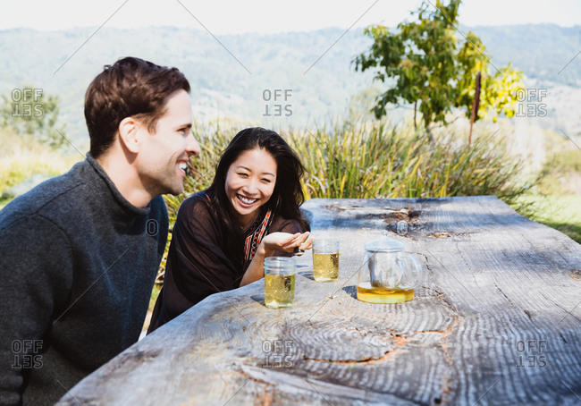 Couple drinking tea at picnic table